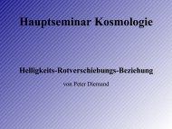 Hauptseminar Kosmologie Helligkeits-Rotverschiebungs-Beziehung