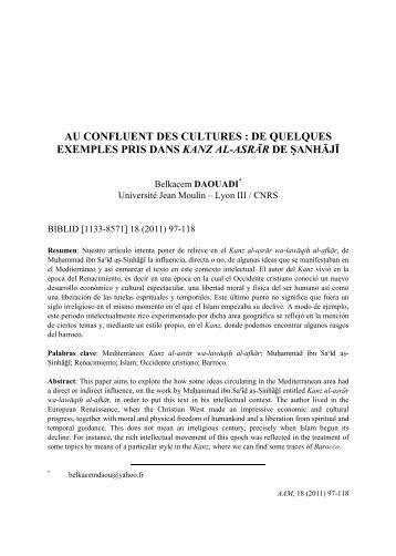au confluent des cultures : de quelques exemples pris dans kanz al ...