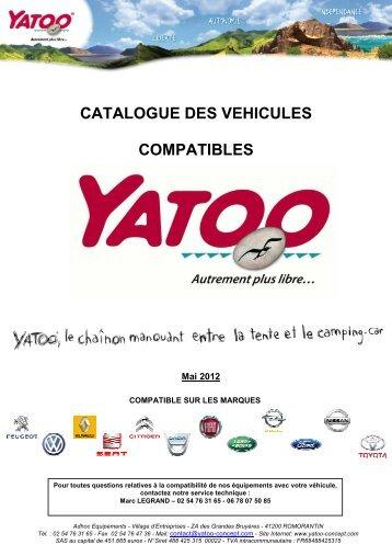Catalogue des véhicules compatibles Yatoo - Mai 2012