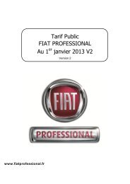 Tarif Public FIAT PROFESSIONAL Au 1er janvier 2013 V2