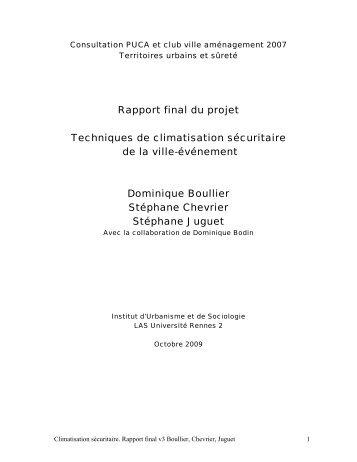 Rapport final du projet Techniques de climatisation ... - Urbamet