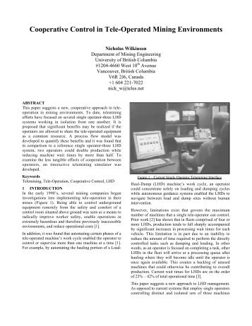 Cooperative Control in Tele-Operated Mining Environments