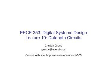 EECE 353: Digital Systems Design Lecture 10: Datapath ... - Courses