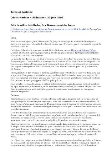 Délit de solidarité à Rodez, Eric Besson cumule les fautes - Gisti