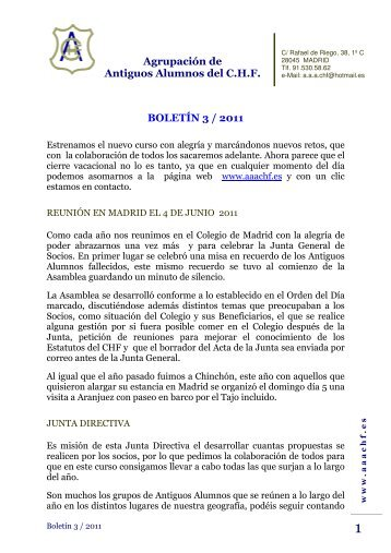 Boletín Nº 3/2011 - Aaachf.org