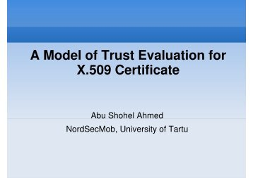 A Model of Trust Evaluation for X.509 Certificate