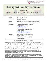 Backyard Poultry Seminar - WSU Extension Counties - Washington ...