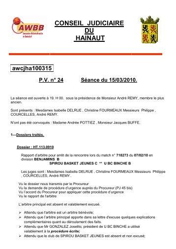 CONSEIL JUDICIAIRE DU HAINAUT - AWBB