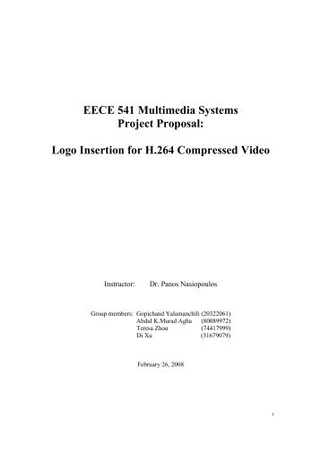 EECE 541 Multimedia Systems Project Proposal: Logo ... - Courses
