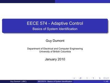 EECE 574 - Adaptive Control - Basics of System Identification