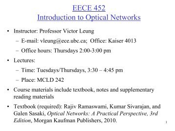 EECE 452 Introduction to Optical Networks - Courses