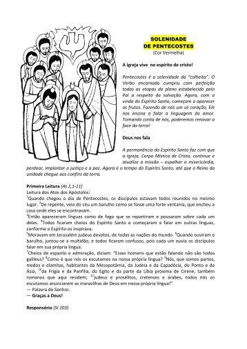 Pentecostes (texto) - Paróquia Nossa Senhora do Bom Sucesso