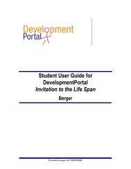Student User Guide for DevelopmentPortal Invitation to the Life Span