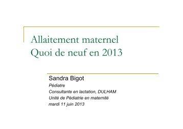 Allaitement maternel Quoi de neuf en 2013