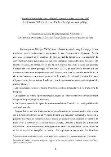 B1-4 Fondement du système de santé français au XIXe siècle