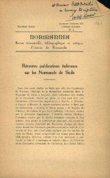 Recentes publications italiennes sur les Normands de Sicile
