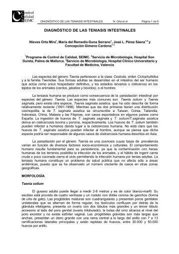 DIAGNÓSTICO DE LAS TENIASIS INTESTINALES - Sociedad ...