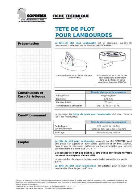 Tete De Plot Pour Lambourdes Soprema
