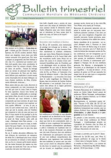 Édition 2009-3 - Méditation chrétienne du Québec