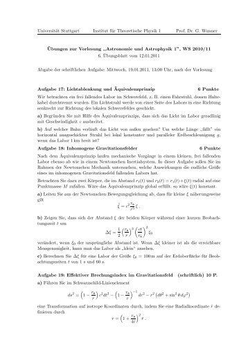 33k - 1. Institut für Theoretische Physik - Universität Stuttgart