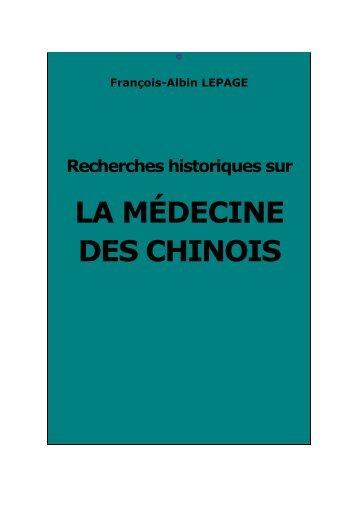 Recherches historiques sur la médecine des ... - Chine ancienne