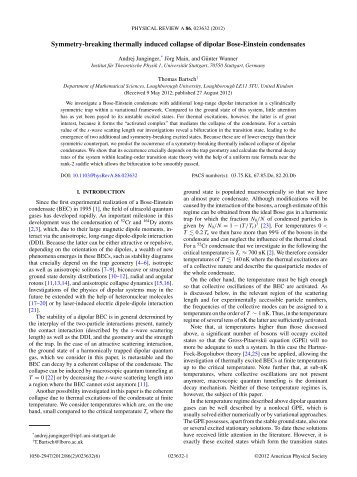 Symmetry-breaking thermally induced collapse of dipolar Bose ...