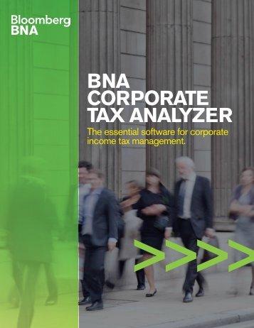 BNA Corporate Tax Analyzer Product Brochure (PDF) - BNA Software
