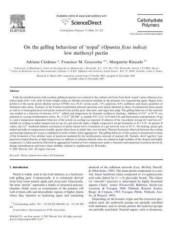 On the gelling behaviour of 'nopal' (Opuntia ficus indica) low ...
