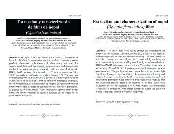 Extracción y caracterización de fibra de nopal (Opuntia ficus indica)
