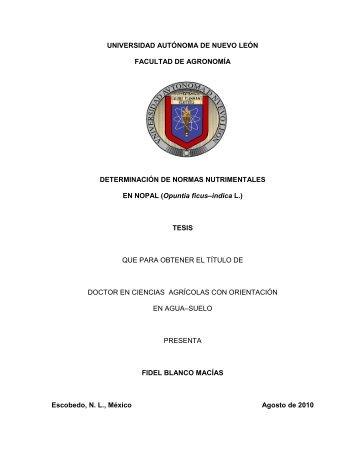 Determinación de Normas Nutrimentales en Nopal (Opuntia ficus ...