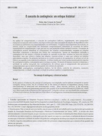 o conceito de contingência: um enfoque histórico' - PePSIC