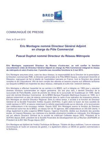 COMMUNIQUÉ DE PRESSE Eric Montagne nommé ... - Bred