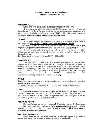 Normas para elaboração da Dissertação/Tese - UNESP - Rio Claro