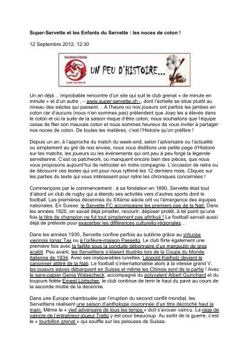 Super-Servette et les Enfants du Servette : les noces de coton ! 12 ...