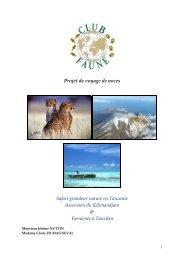 Voyage de noces en Tanzanie et à Zanzibar (Pdf) - Club-Faune