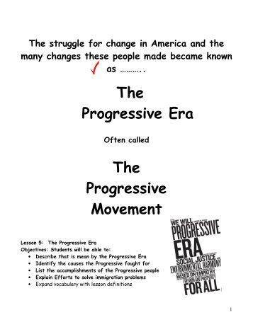 Progressive Era Worksheets - Loudoun County Public Schools