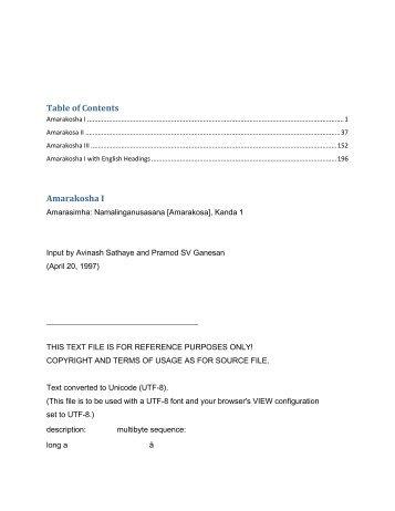Table of Contents Amarakosha I - Wilbourhall.org