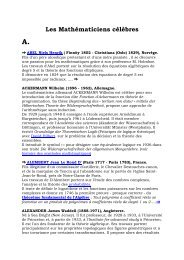 biographies mathématiciens 2009