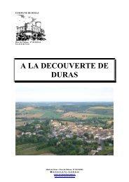 A LA DECOUVERTE DE DURAS - Réseau des Communes