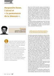 Marguerite Duras, l'alcool et « la permanence de la blessure ».