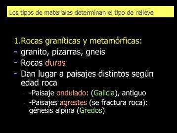 1.Rocas graníticas y metamórficas: - granito, pizarras ... - RODAS