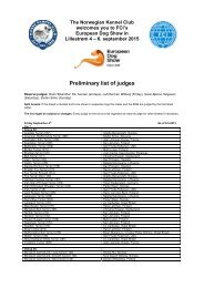 Preliminary list of judges (May 14, 2013). - European Dog Show 2015