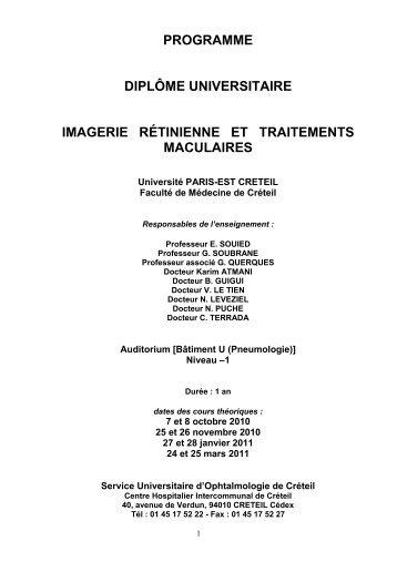 PROGRAMME DIPLÔME UNIVERSITAIRE IMAGERIE RÉTINIENNE ...