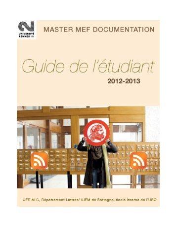 guide de l'étudiant 2012-2013 - Université Rennes 2