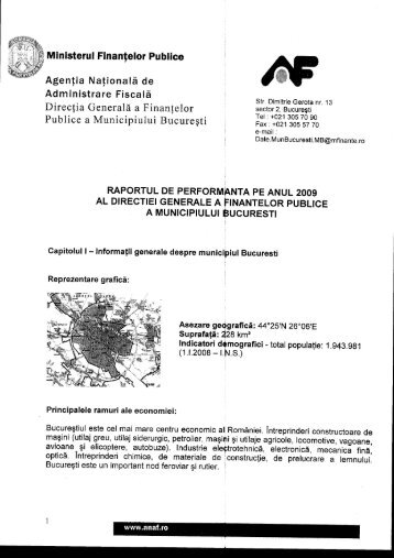 Raport performanţă DGFPMB 2009 - ANAF