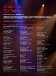 We salute those many donors - Stratford Festival