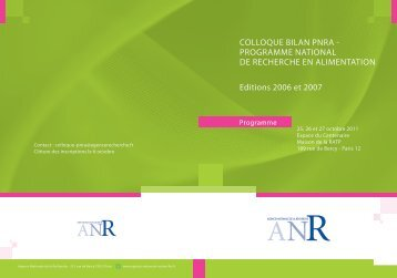 COLLOQUE BILAN PNRA - Agence Nationale de la Recherche