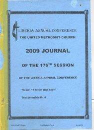 Liberia Annual Conference United Methodist Church Journal 2009