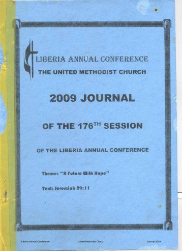 Liberia Annual Conference United Methodist Church Journal 2009