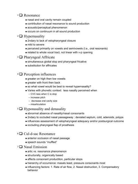 Resonance Hypernasality Pharyngeal Affricate     - Jan ucc